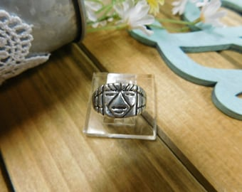 Sterling Silver Face Ring- Mexico