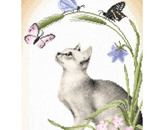 Cross Stitch Kit Summer afternoon (cat)