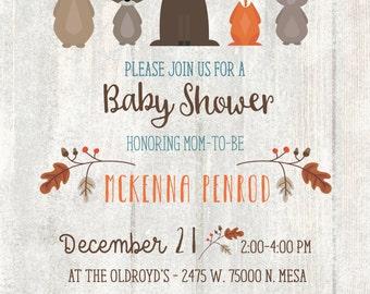 Woodland Baby Shower Invitation, Whitewash Woodland Baby Shower