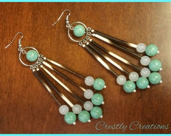 Porcupine Quill and Turquoise Earrings