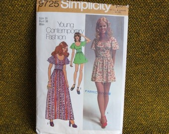 Size 16 - 70's Sewing Pattern, Young Junior/Teens and Misses Dress in Two Lengths - Simplicity 9725 - T4A