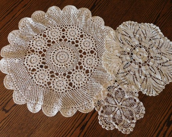Vintage Handmade Crocheted Doilies Set of 3