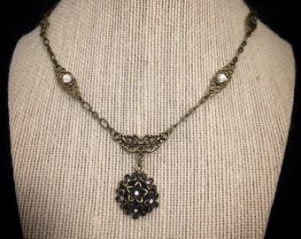 Vintage necklace // Victorian necklace // antique brass // floral necklace