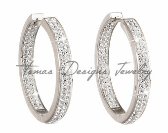 Hoop Earrings Made with Rhodium-Plated Silver and Swarovski Elements Crystals - Crystal Color