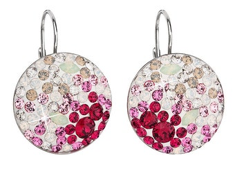 Swarovski Earrings Silver - Rhodium-Plated Silver Dangle Earrings w/ Swarovski Elements Crystals - White and Pink - Leverback Clasp