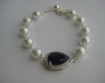 Blue Sapphire Bridal Bracelet  Wedding Cubic Zirconia And Pearl Teardrop Bracelet Rhodium Crystal Wedding Jewelry