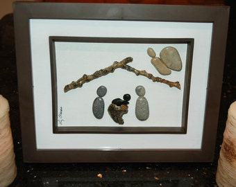 Nativity scene...pebble art