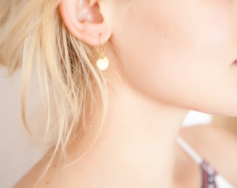 Tiny earrings, Gold disk earrings, Golden earrings, Everyday earrings, Dainty earrings, Tiny Gold Drops, Minimalist Earrings, Boho