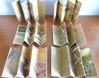 1968 Japanese Screens in Miniature - Reiko Chiba - Six Small Screens in Box - Momoyama Period - Asian Art Decor