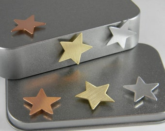 Metal Star Magnets - Refrigerator Magnet - Metal Magnet - Copper Brass Aluminum Star - Kitchen Magnets - Industrial Magnet Set - MM06