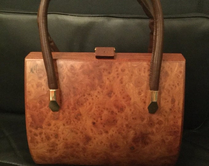 RARE Signed MM Morris Moskowitz Burl Yew Wood with Leather Lining, leather Handles and Brass Accents