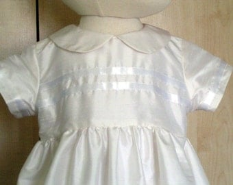 boys pure silk Christening baptism gown with ribbon trim
