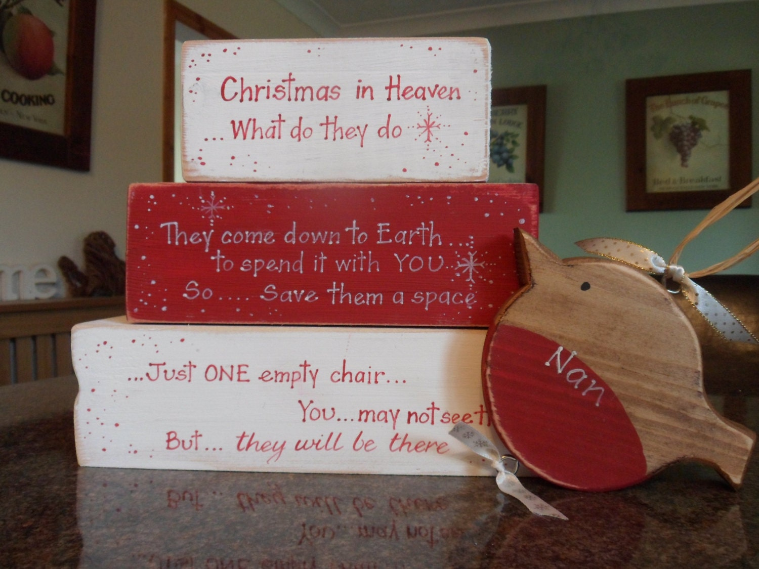 Ornaments for loved ones lost - Christmas In Heaven Blocks With A Personalised Red Robin A Beautiful Way To Remember