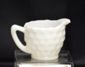 """Jeannette Glass """"Cube"""" White Milk Glass Creamer Vintage Item #3126"""