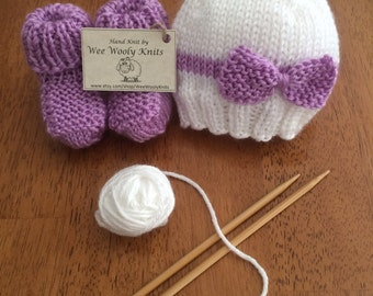 Baby Bow Hat and Booties Set