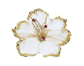 Rock Crystal Ruby Diamond and Gold Flower Brooch