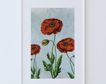 Poppy decor Poppy art Poppy vintage botanical print Poppy kitchen decor Poppy print Poppy wall decor Poppy wall art on Cotton Canvas & Paper