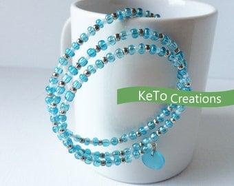 Beaded Wrap Bracelet, Wrap Bracelet, Memory Wire Bracelet, Blue Bracelet