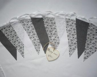 "3 Metres Gorgeous Greys & White - Wedding / Celebration Fabric Bunting ""Nina"""