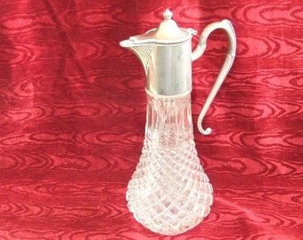 Stylish Vintage English Silver Plated Glass Claret Jug
