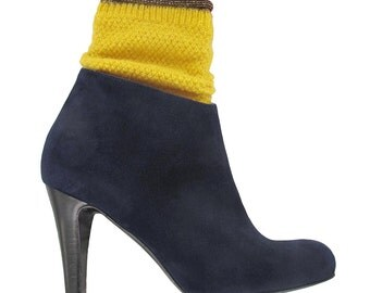 SALES Navy suede ankle boots, Navy blue ankle boots, Women leather boots, Navy ankle boots, shoes from Italy, Blue boots,  Mia
