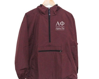 Alpha Phi Wind & Rain Resistant Embroidered Pullover, Alpha Phi Windbreaker, Alpha Phi UNLINED Windbreaker, Alpha Phi Anorak