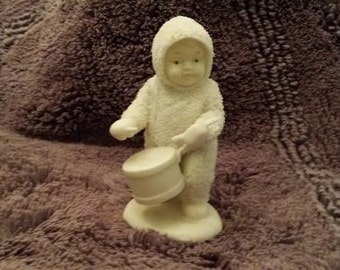 "Vintage Snowbaby Department 56  Playing Drum.   Snowbabies  ""Shall I Play For You"" Collectible Dept 56"