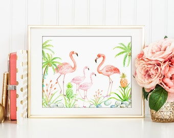 No. 75 Watercolor flamingo family for Instant Download, printable, animal print, nursery print