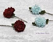 Satin Rose Hair Clips | Floral Hair Clips | Decorative Bobby Pins for Short Hair | Bridal Hair Pins | Ribbon Hair Accessories | A0369