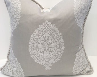 "Decorator Throw Pillow Cover, Gray Indian Motif, Gray Paisley, 18"" x 18"", Accent Pillow, Toss Pillow"