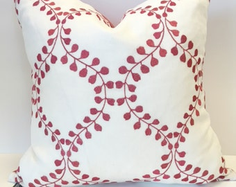 Red and White Vine Pillow