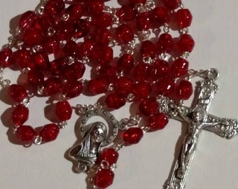 Red Glass Bead Rosary