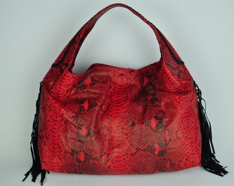 Genuine Exotic Python Handbags/Hobo with Side Fringes