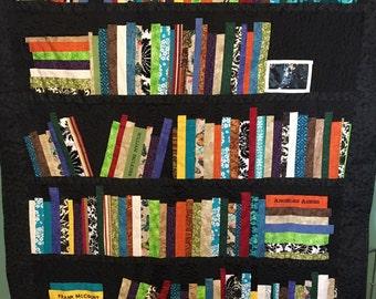 Bookshelf Quilt, Books, Authors, Titles, Book Quilt