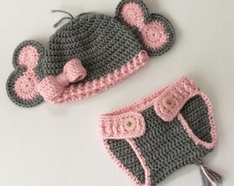 Newborn Elephant Hat & Diaper Cover Set, Baby Photo Prop