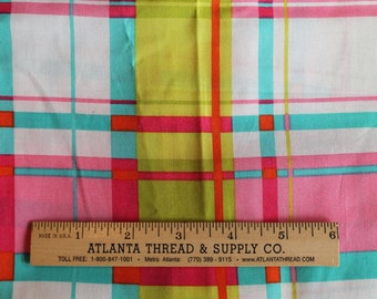 Bright Plaid Cotton Fabric Fat Quarter 18 X 22