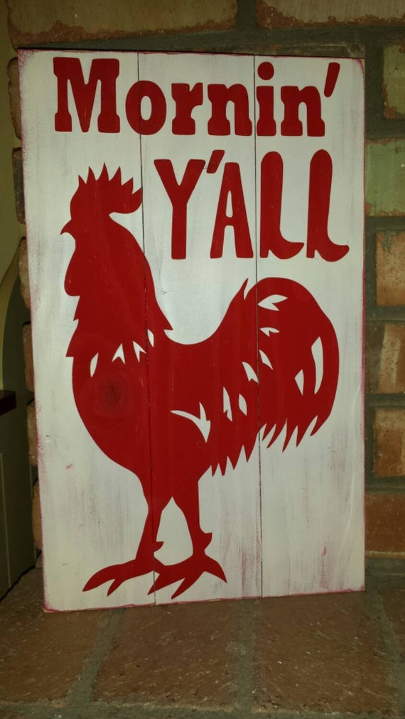Items Similar To Mornin Y All Rooster Pallet Wood Sign