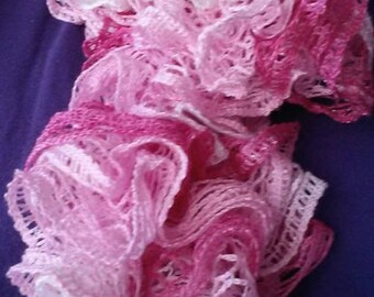 Pink ruffle scarf  approx 42""