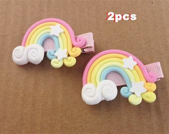 Rainbow hair clips, girls hairclips, baby hairclips, toddlers hairclips, girls hair clip/Polymer hair clips, Girls Birthday Gift/Set of 2pcs