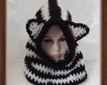Crochet Zebra hood cowl, hoodie, snood, neck warmer,Black & white stripy, made to order