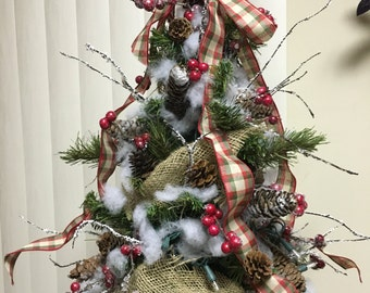 Artificial Table Top Decorated Christmas Tree with lights