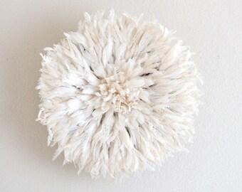 Small Bamileke Feather Juju Hat - White