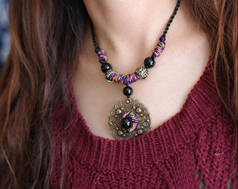 Graceful Handmade Agate Necklace  (X1402)