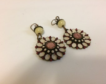 Brass flower Painted handcrafted Earrings.