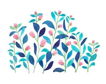 Blue and pink plants, reproduction of watercolour 20 x 30