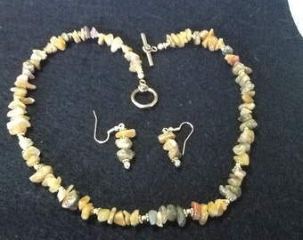 Golden Jade necklace and earrings