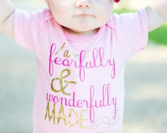 Fearfully and wonderfully made newborn girl gown or onsie.newborn girl pink and gold.baby girl take home outfit.newborn girl hospital outfit