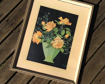 Vintage Jean Beasley Yellow Roses Framed Art Deco Print with Green Vase 1940