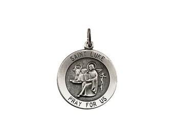 Sterling Silver 22mm Round St. Luke Medal pendant