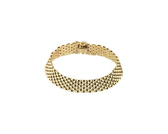 "14kt Yellow Gold  10.25mm Panther 7"" Bracelet"
